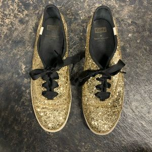 KATE SPADE KEDS  Gold & Black Sneakers Size 9.5